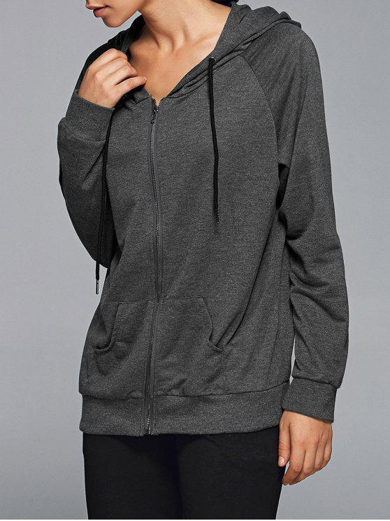shop Active Zip Up Hoodie - DEEP GRAY XL