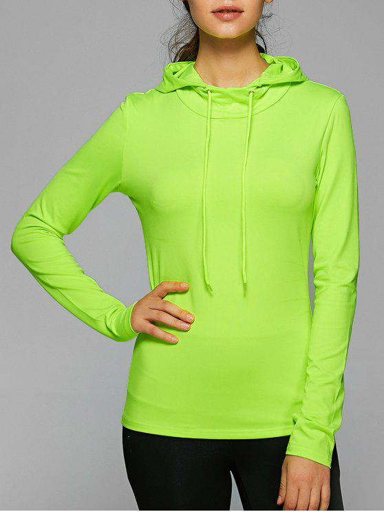 shop Hooded Drawstring T-Shirt - NEON GREEN L