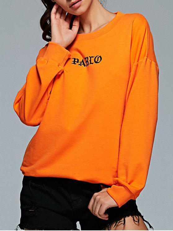 fashion Long Sleeve Letter Pattern Gym Sweatshirt - ORANGE M