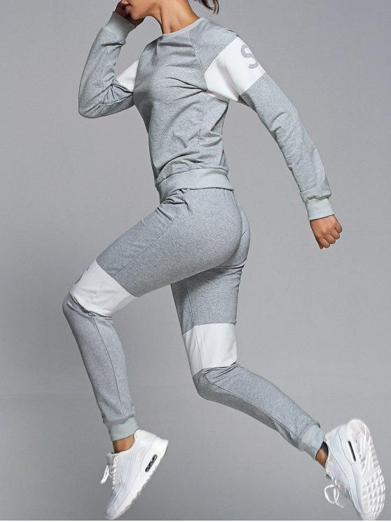 sale Letter Print Sweatshirt With Pants Gym Suit - LIGHT GRAY S