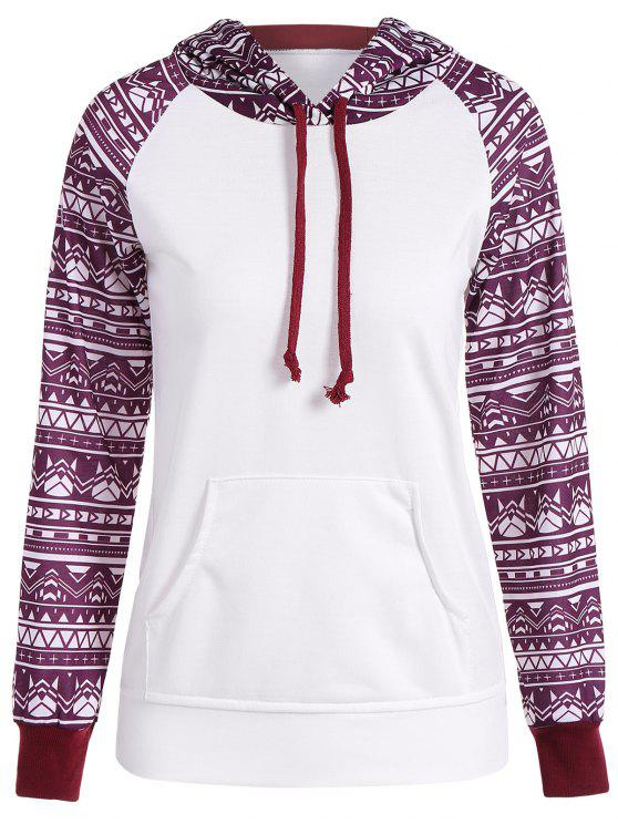 fashion Big Pocket Pullover Printed Hoodie - WHITE M