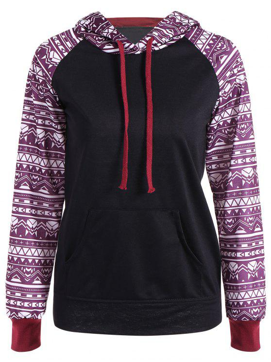 sale Big Pocket Pullover Printed Hoodie - BLACK M