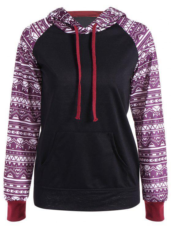 sale Big Pocket Pullover Printed Hoodie - BLACK M