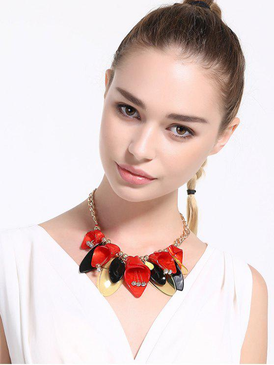 Perles strass Collier Fleur alliage - Rouge