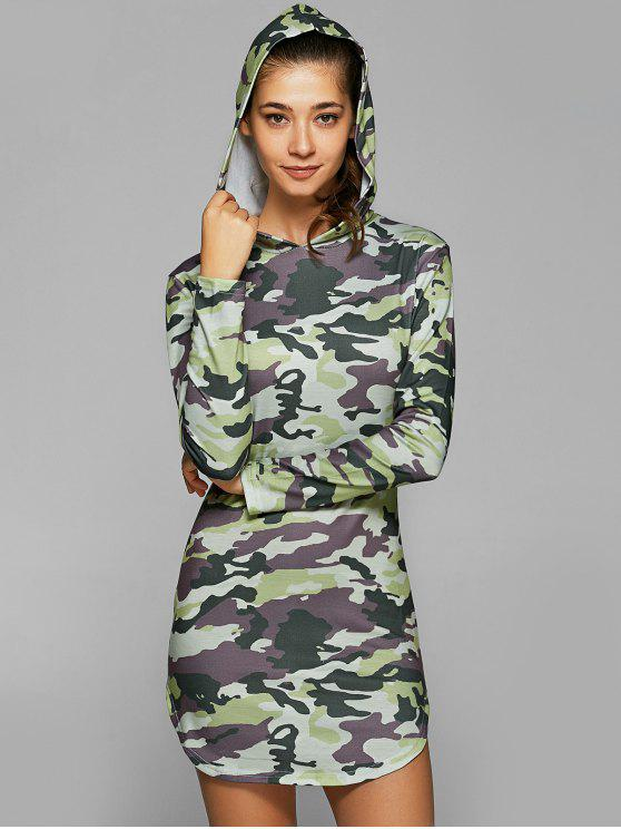 36f5fcc4b2 28% OFF] 2019 Hooded Long Sleeve Camo Bodycon Dress In CAMOUFLAGE ...