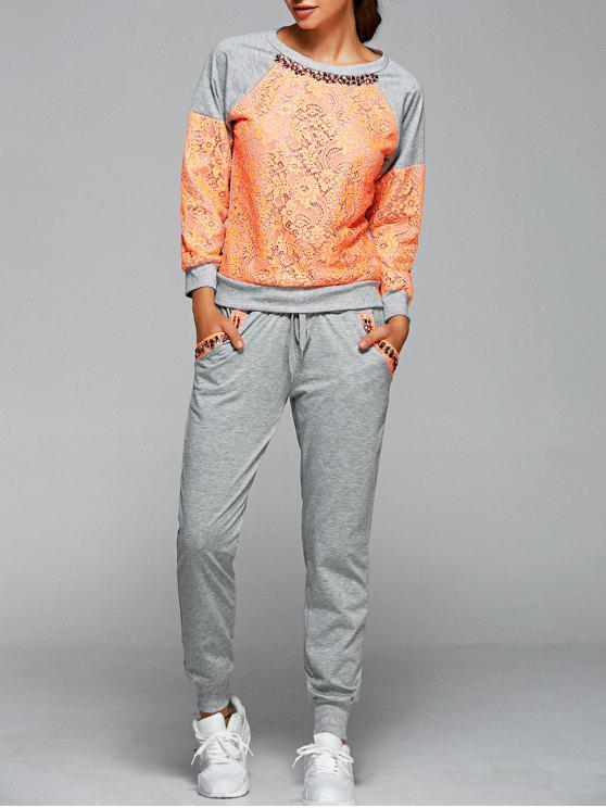 affordable Sweatshirt With Pants Twinset - ORANGE L