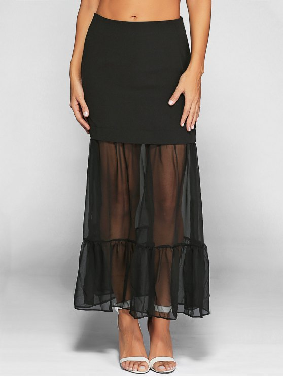 women Ruffle See-Through Tulle Maxi Skirt - BLACK S