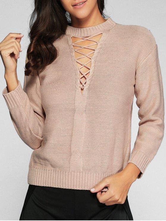 Schnürsystem Pullover Sweater - Nackt Eine Größe
