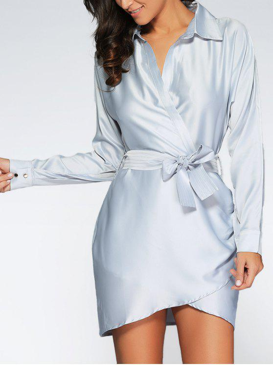 sale Crossover Wrap Shirt Dress - GRAY M