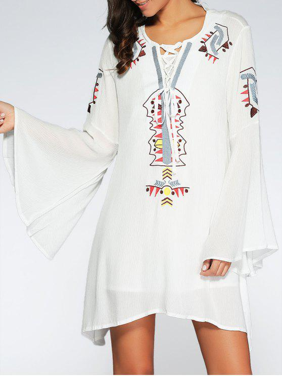 sale Lace Up Bell Sleeve Dress - WHITE ONE SIZE