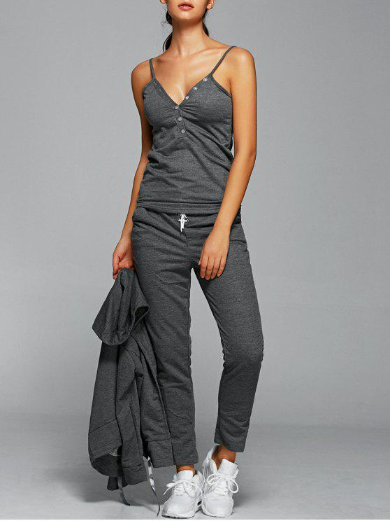 women Cami Top With Drawstring Pants With Hoodie - GRAY S