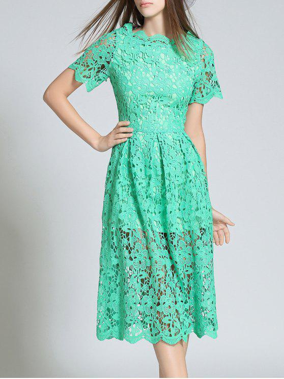 Manga corta ahueca hacia fuera el vestido de encaje festoneado - Verde 2XL