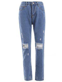 Fresh Distressed Ripped Loose-Fitted Pencil Jeans - Denim Blue S