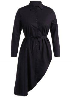 Belted Asymmetrical Long Sleeve Shirt Dress - Black L