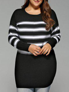 Stripe Plus Size Bodycon Sweater Dress - Black Xl