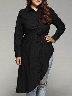 Belted Asymmetrical Plus Size Shirt Dress - Black L