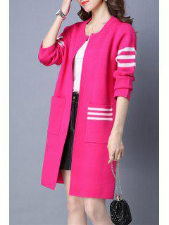 Stripe Double Poches Chandail Long Cardigan - Rose M
