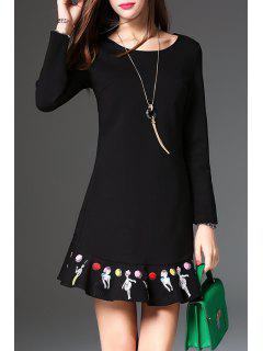 Short A Line Flounce Dress - Black S