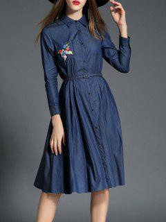 Shirt Neck Long Sleeve Embroidered Shirt Dress - Purplish Blue Xl