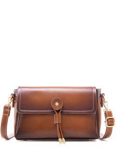 Vintage Stitching Crossbody Bag - Brown