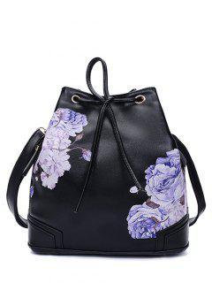 Drawstring Peony Print Backpack - Black