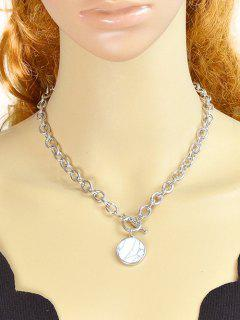 Alloy Faux Rammel Round Necklace - White