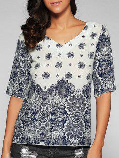Imprimé Col En V T-shirt - Bleu Et Blanc S