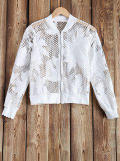 Ajouré See-Through Crochet Jacket - Blanc S