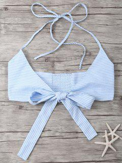 Striped Halter Wraped Tank Top - Light Blue Xl