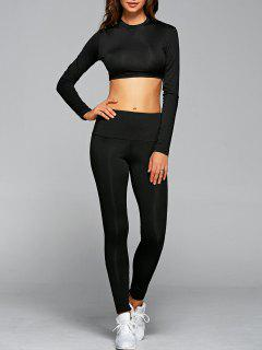 T-Shirt With Leggings Gym Outfits - Black L