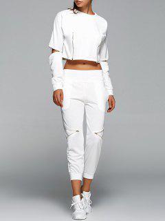 Zippé Sweatshirt Des Cultures Et Pantalon - Blanc S