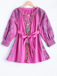 Embroidered Dress With Tassels - Pink