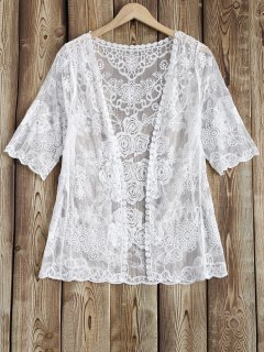 Sheer Lace Cover Up - White