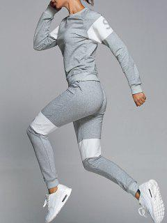 Letter Print Sweatshirt With Pants Gym Suit - Light Gray M