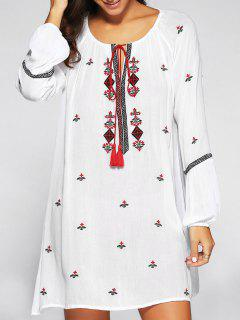 Tassels Embroidered Peasant Dress - White