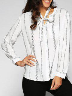 Bow Tie Leaf Print Shirt - White