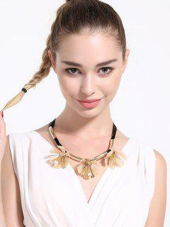 Alloy Floral Rope Beads Necklace - Yellow