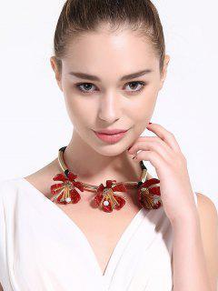 Alloy Floral Rope Beads Necklace - Red