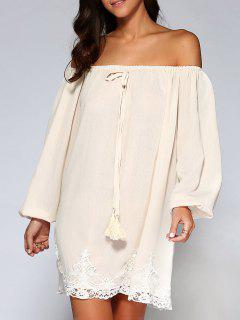 Flowy Off Shoulder Dress - Apricot S