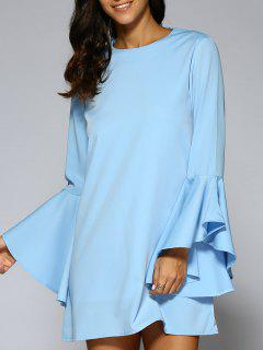 Loose Round Neck Flare Sleeve Chiffon Dress - Blue Xs