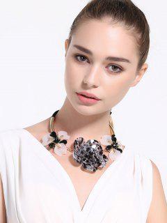 Collar Floral Del Bowknot De La Aleación De Imitación De Cristal - Negro
