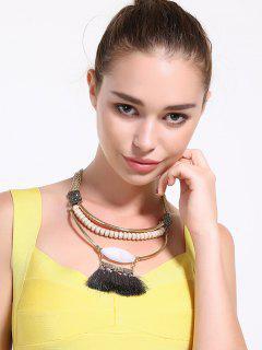 Layered Alloy Rhinestone Tassel Beaded Necklace - White
