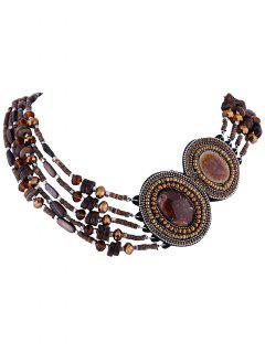 Oval Faux Gem Fake Collar Necklace - Coffee
