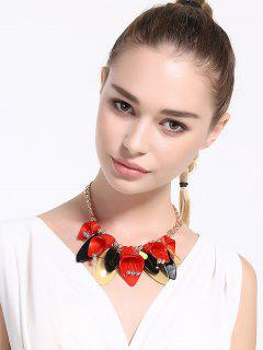 Alloy Rhinestone Beads Flower Necklace - Red