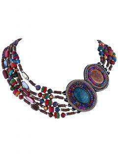 Ethnic Faux Gem Fake Collar Necklace