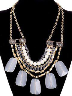 Collar De Cuentas Rhinestone De La Aleación De Imitación De Cristal - Blanco