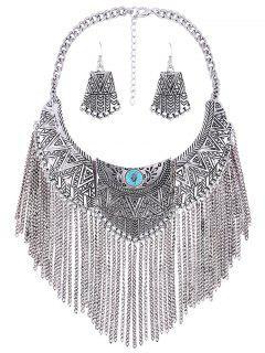 Geometry Tassel Fake Collar Necklace Earrings - Silver