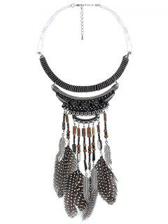 Feathers Pendant Fake Collar Necklace - Black