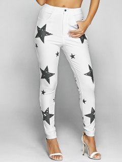 Pentagram Print Slimming Pencil Jeans - White S