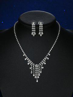 Rhinestoned Pendant Embellished Wedding Jewelry Set - Silver